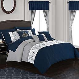 Chic Home Jurgen 20-Piece Queen Comforter Set in Navy