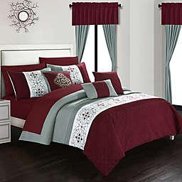 Chic Home Jurgen 20-Piece King Comforter Set in Burgundy