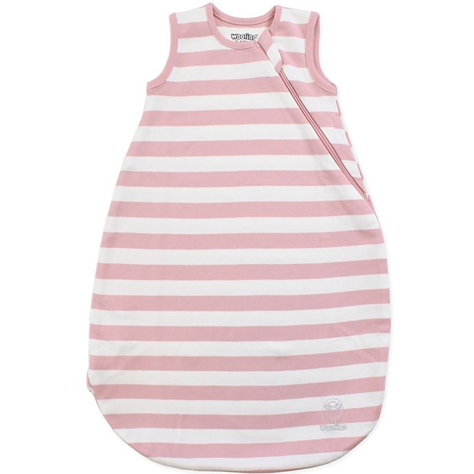 Alternate image 1 for Woolino® Striped Organic Cotton Wearable Blanket in Blush