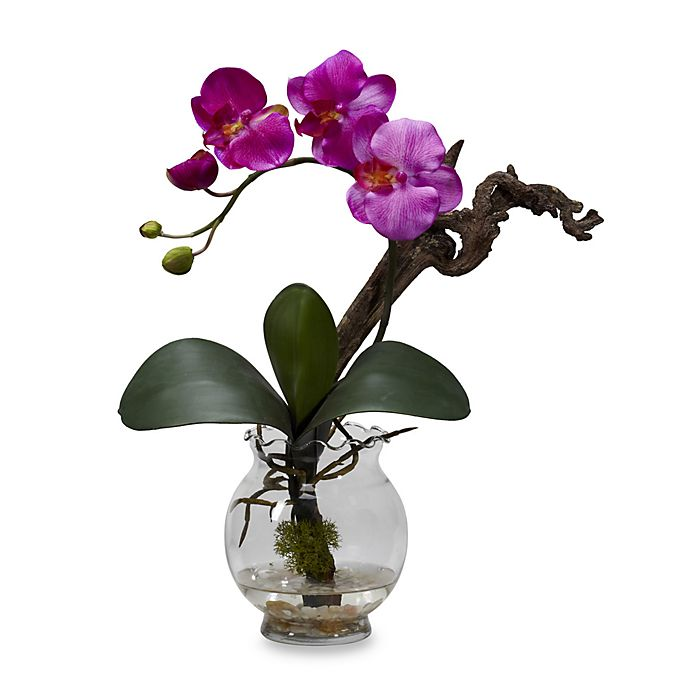 Alternate image 1 for Nearly Natural Mini Phalaenopsis with Fluted Vase Silk Flower Arrangement in Purple
