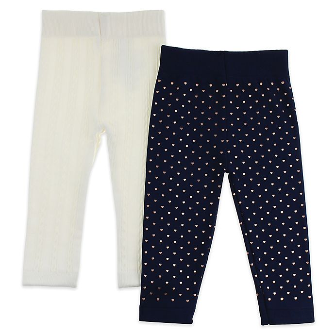 Alternate image 1 for Capelli New York 2-Pack Mixed Hearts Leggings in Navy