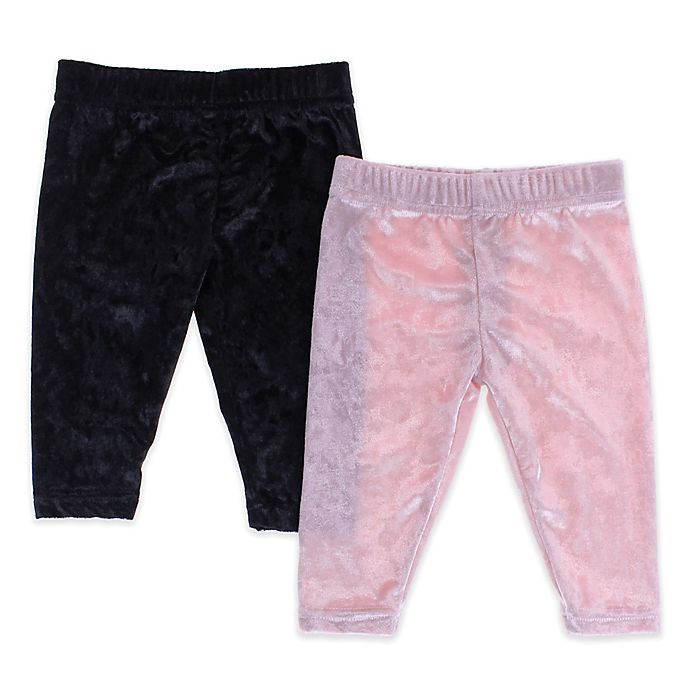 Alternate image 1 for Capelli New York Size 12-24M 2-Pack Crushed Velvet Leggings in Pink/Black