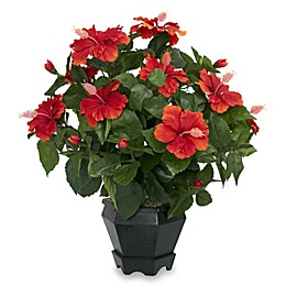 Nearly Natural 20-Inch Hibiscus with Black Hexagon Vase Silk Plant