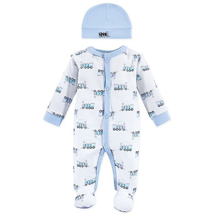 Alternate image 1 for Luvable Friends® Preemie Train Sleep N' Play with Cap in Blue