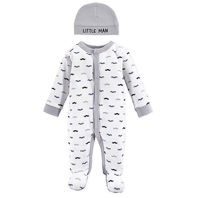 Alternate image 1 for Luvable Friends® Preemie Mustache Sleep N' Play with Cap in Grey