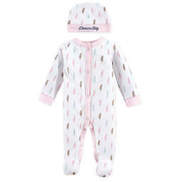 Luvable Friends® Sleep n Play Preemie 2-Piece Feather Footie and Cap Set in Pink