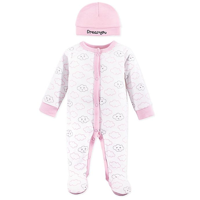 Alternate image 1 for Luvable Friends® Sleep n Play Preemie 2-Piece Cloud Footie and Cap Set in Grey
