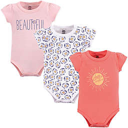 Yoga Sprout Hello Sunshine 3-Pack Short Sleeve Bodysuits in Pink