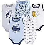 Yoga Sprout Size 6-9M 5-Pack Sleeveless Fisherman Bodysuits in Blue/White