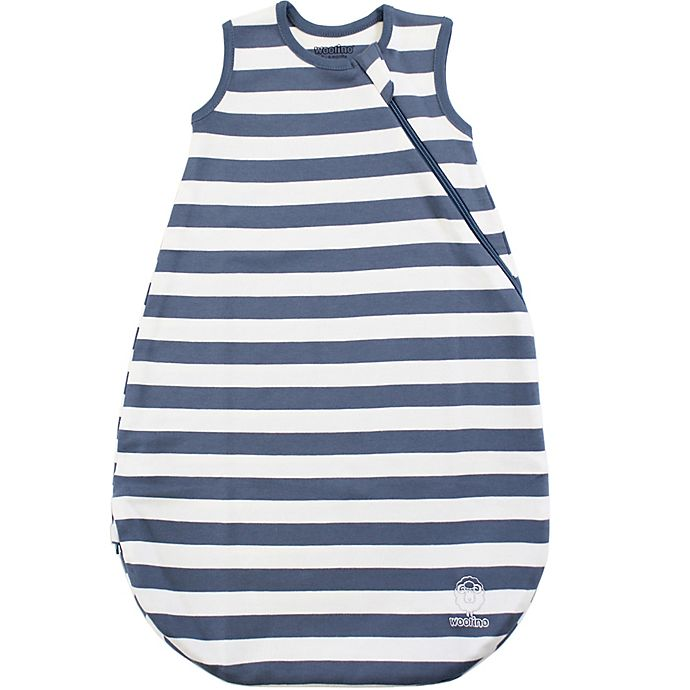 Alternate image 1 for Woolino® Size 6-18M Striped Organic Cotton Wearable Blanket in Navy