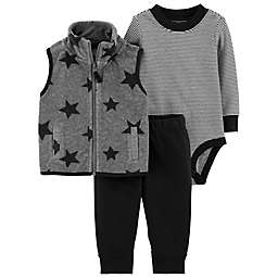 carter's® 3-Piece Star Vest, Bodysuit, and Pant Set in Grey/Black