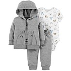 carter's® Size 3M 3-Piece Bear Hooded Jacket, Bodysuit, and Pant Set in Grey