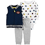carter's® Size 9M 3-Piece Football Vest, Bodysuit, and Pant Set in Blue