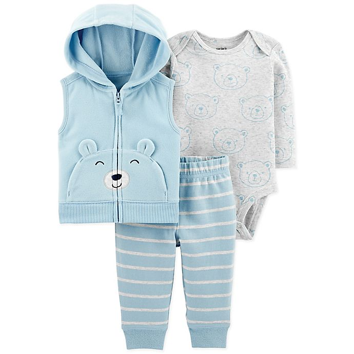 Alternate image 1 for carter's® 3-Piece Bear Vest, Bodysuit, and Pant Set in Blue/Grey