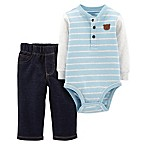 carter's® Size 6M 2-Piece Stripe Henley Bodysuit and Pant Set in Blue