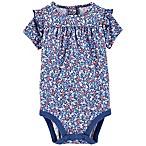 OshKosh B'gosh® Size 9-12M Floral Short Sleeve Bodysuit in Blue