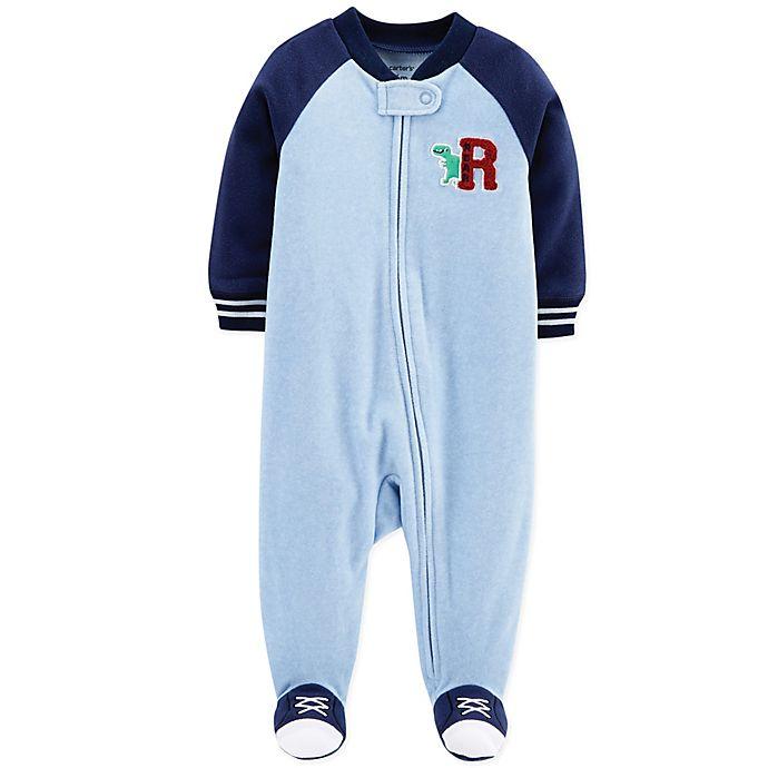 Alternate image 1 for carter's® Dinosaur Fleece Sleep & Play Footie in Blue