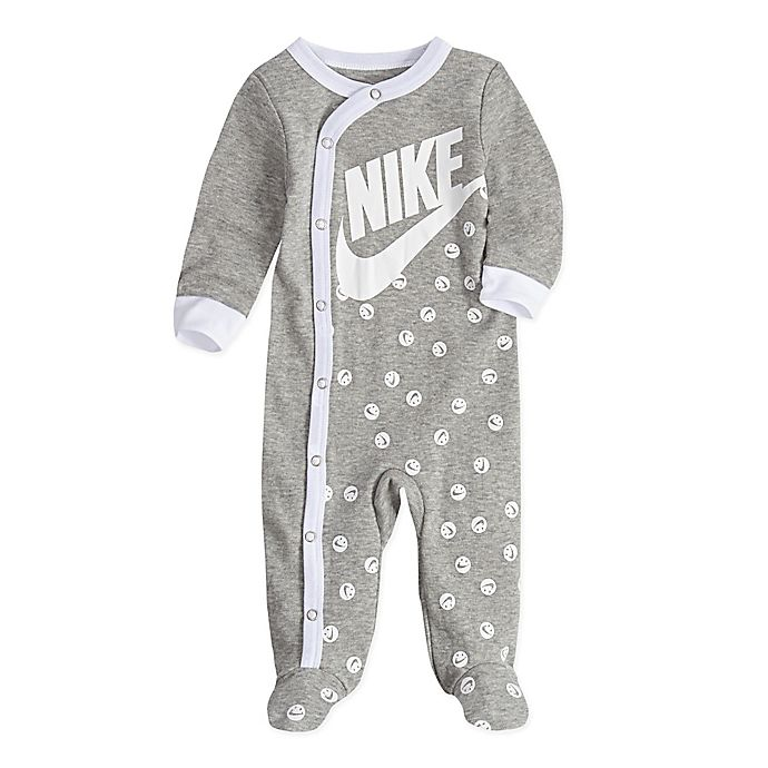 Alternate image 1 for Nike® Smiley Print Footed Coveralls in Grey