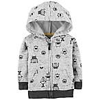 OshKosh B'gosh® Size 3-6M Zip-Front Monster Hoodie in Grey