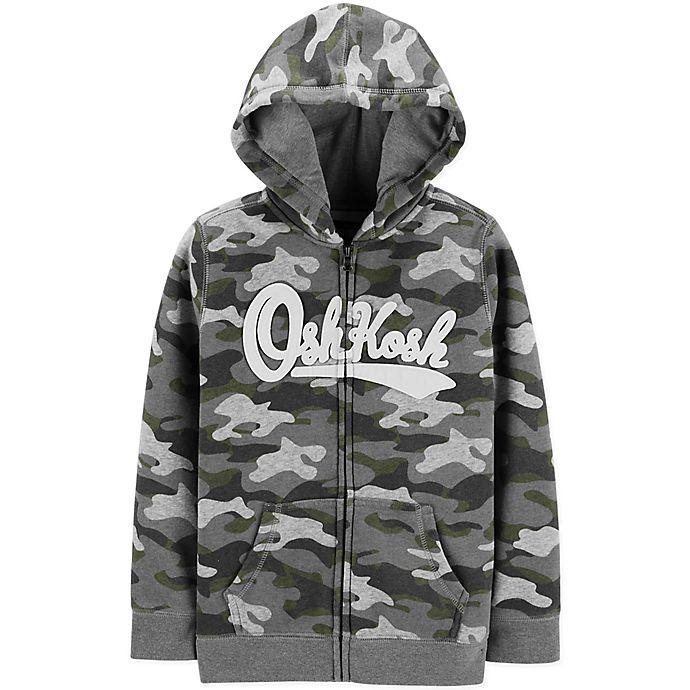 Alternate image 1 for OshKosh B'gosh® Zip-Front Logo Hoodie in Camo