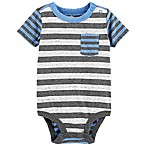 OshKosh B'gosh® Size 3-6M Striped Heather Bodysuit in Blue/Grey