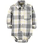 OshKosh B'Gosh® 0-3M Plaid Bodysuit in Gray/Yellow