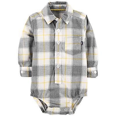OshKosh B'Gosh® Plaid Bodysuit in Gray/Yellow