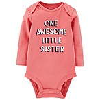 carter's® Size 3M Awesome Sister Long Sleeve Bodysuit in Pink