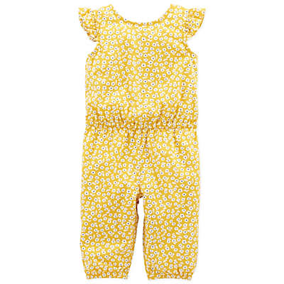 carter's® Floral Flutter Sleeve Romper in Yellow