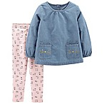 carter's Size 9M 2-Piece Kitty Chambray Top and Pant Set in Denim/Pink