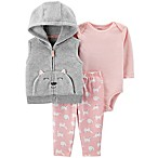 carter's® Size 6M 3-Piece Cat Vest, Long Sleeve Bodysuit and Pant Set in Grey/Pink