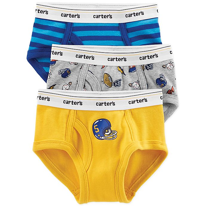 Alternate image 1 for carter's® 3-Pack Sports Briefs in Blue/Yellow/Grey