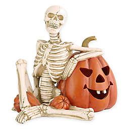National Tree Company® 9-Inch Lighted Skeleton & Pumpkin Halloween Decoration