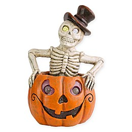 National Tree Company® 15-Inch Lighted Pumpkin & Skeleton Halloween Decoration
