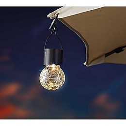 Outdoor Crackled Glass Solar LED Umbrella Clip in Gunmetal