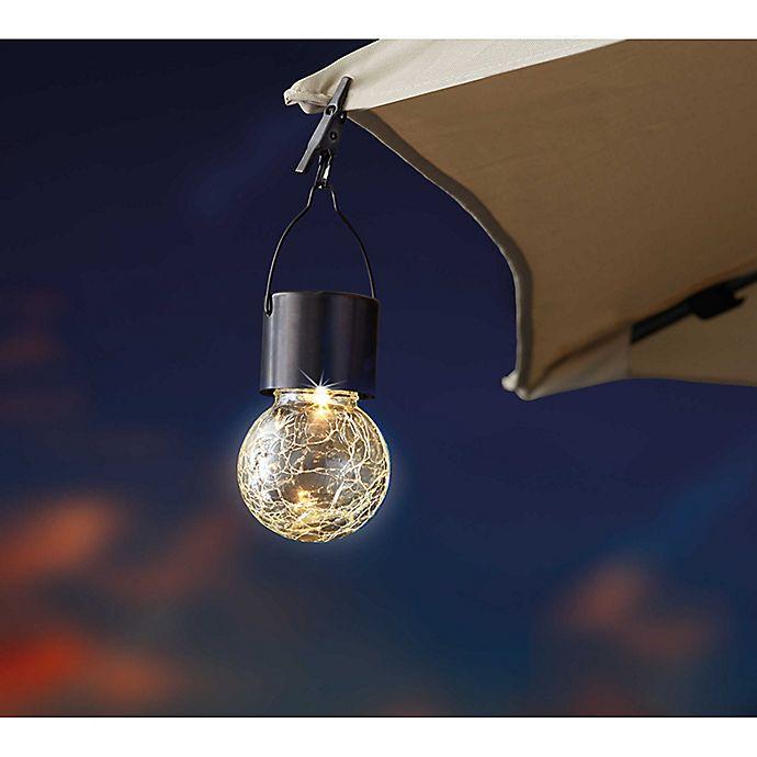 Outdoor Crackled Glass Solar Led Umbrella Clip In Gunmetal