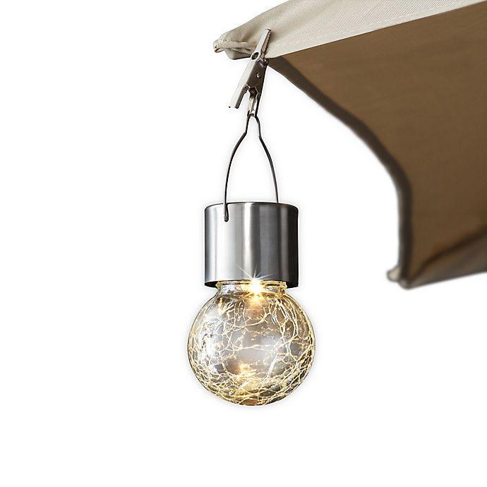 Alternate image 1 for Outdoor Crackled Glass Solar 2-Light LED Umbrella Clip in Stainless Steel