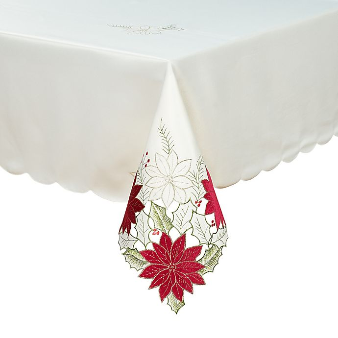 Alternate image 1 for Leona Poinsettia Cutwork Table Linen Collection