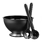 Prodyne Bravada 3-Piece Spinning Salad Bowl and Server Set in Black