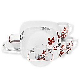 Corelle® Boutique Kyoto Leaves Square 16-Piece Dinnerware Set