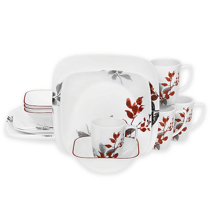 Alternate image 1 for Corelle® Boutique Kyoto Leaves Square 16-Piece Dinnerware Set