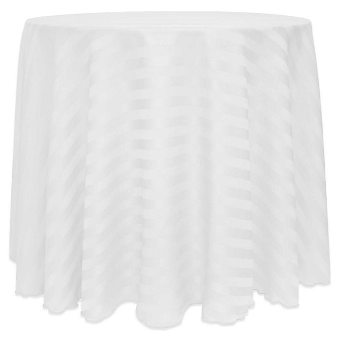 Alternate image 1 for Poly Stripe 72-Inch Round Tablecloth in White