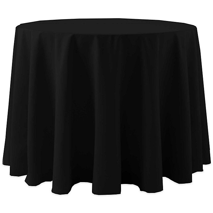 Alternate image 1 for 60-Inch Round Spun Polyester Tablecloth in Black
