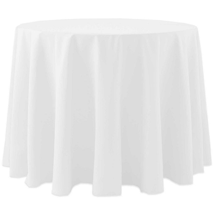 Alternate image 1 for 60-Inch Round Spun Polyester Tablecloth in White