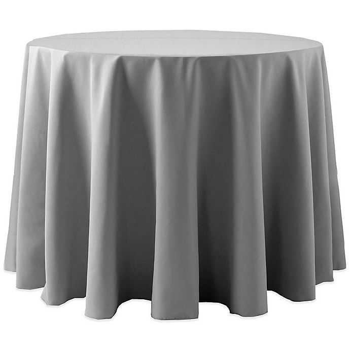 Alternate image 1 for 72-Inch Round Spun Polyester Tablecloth in Grey
