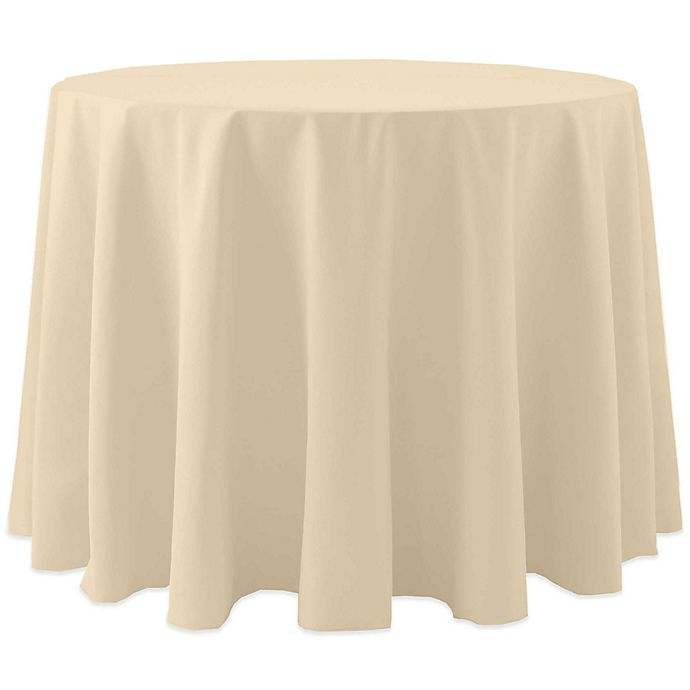 Alternate image 1 for 72-Inch Round Spun Polyester Tablecloth in Beige