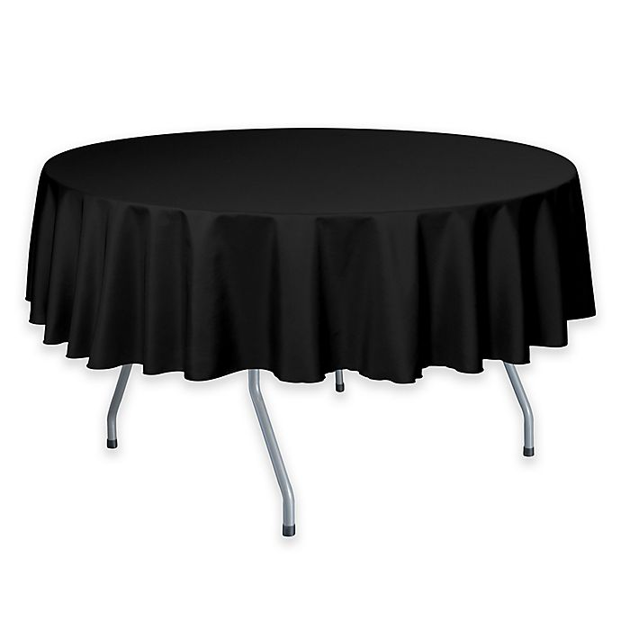 Alternate image 1 for 60-Inch Round Polyester Tablecloth in Black