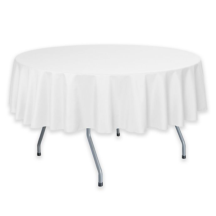 Alternate image 1 for 60-Inch Round Polyester Tablecloth in White