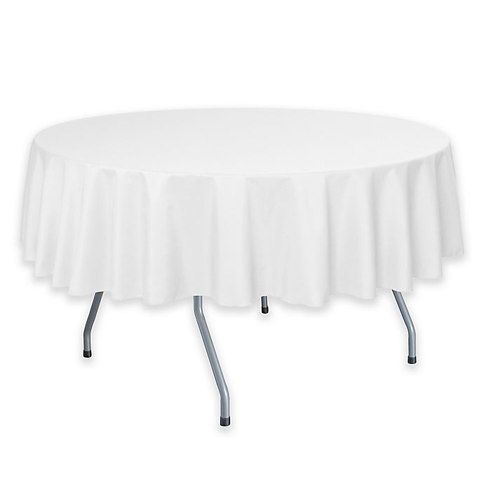 Alternate image 1 for 72-Inch Round Polyester Tablecloth in White