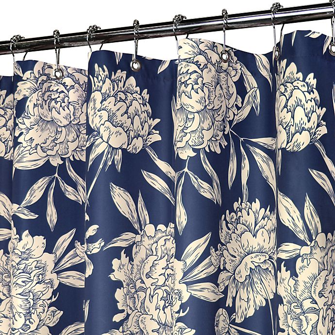 Park B SmithR Peony Navy 72 Inch X WatershedR Shower Curtain